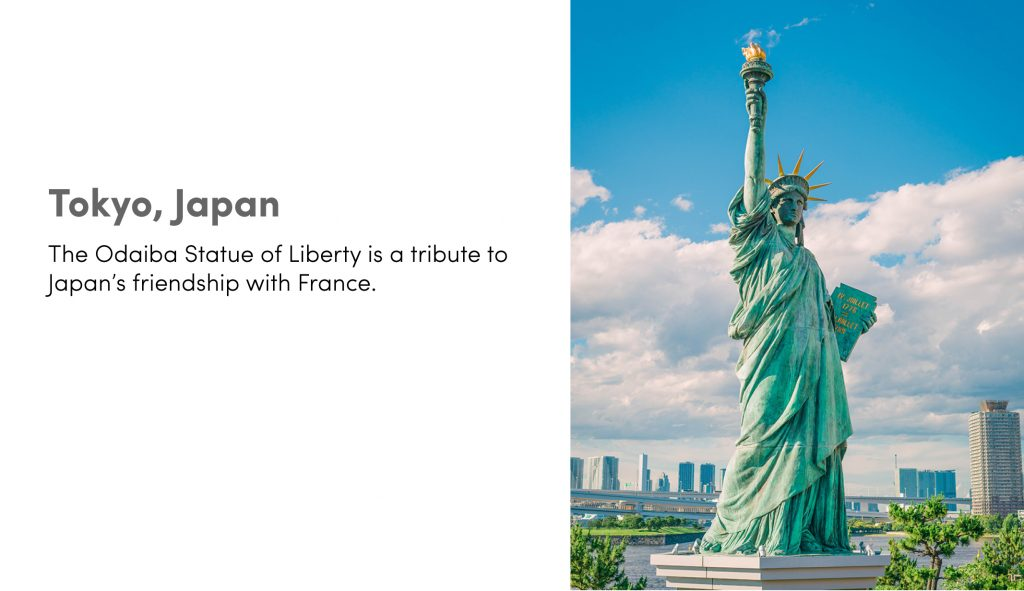 Tokyo, Japan: the Odaiba Statue of Liberty is a tribute to Japan's friendship with France.