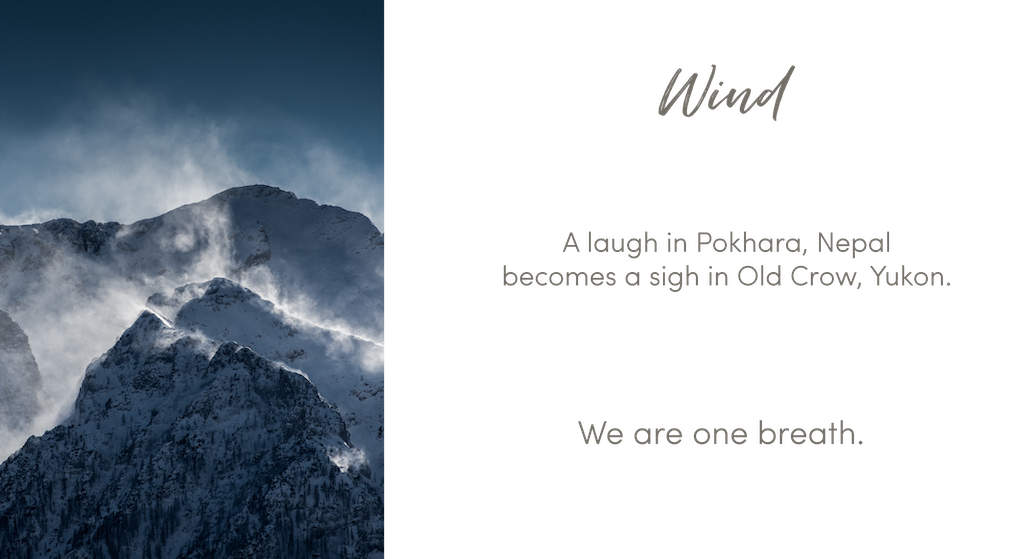 Picture of wind shears off mountain peaks. Wind: A laugh in Pokhara, Nepal becomes a sign in Old Cow, Yukon. We are one breath.