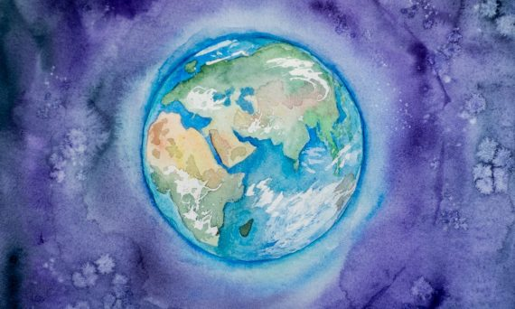 Watercolor of the earth with a purple background